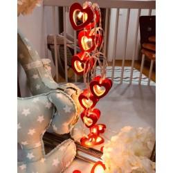 Led Işıklı Ahşap Kırmızı Kalp Dizeleri