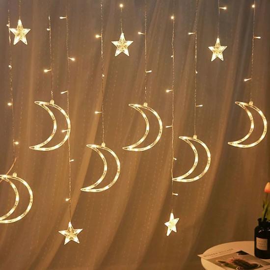 Orijinaldükkan Sarkıt Saçaklı Ay Perde Led Işıklar Animasyonlu