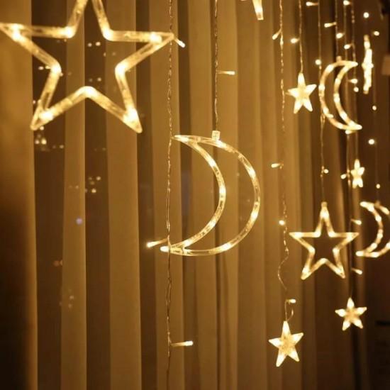 Ay Yıldızlı Perde Led Işıklar Animasyonlu