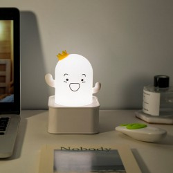 Sese ve Dokunmaya Duyarlı Silikon Beyaz Kaktüs Gece Lambası Renkli