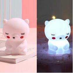 Silikon Led Işıklı Ayıcık Lamba Beyaz