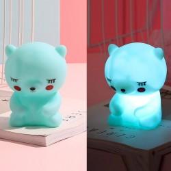 Silikon Led Işıklı Ayıcık Lamba Mint Yeşili